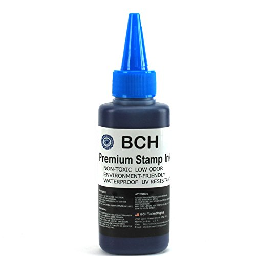 Pigment Ink Refill Bottles (Blue Stamp Ink Refill by BCH - Premium Grade - 2.5 oz (75 ml) Ink Per Bottle)