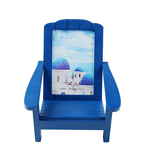 AcFun Wooden Picture Photo Frame Beach Shoreline Adirondack Chair Dimensional to Hold 4x6 Photo Desk Home Décor Blue