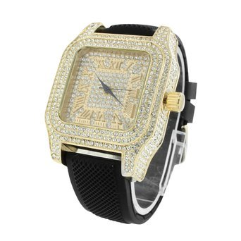 Gold Tone Mens Watch Roman Numeral Dial Iced Out Lab Diamonds MOB Joe Rodeo Jojo (Iced Out Square Watch)