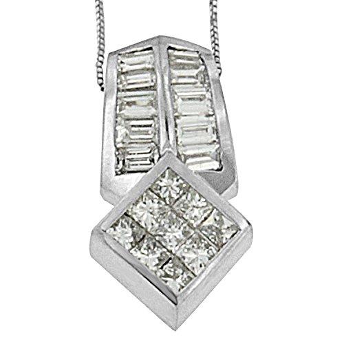 14k White Gold (1 1/2ct TDW) Princess and Baguette-cut Diamond Multi-shape Pendant Necklace (G-H, VS1-VS2)
