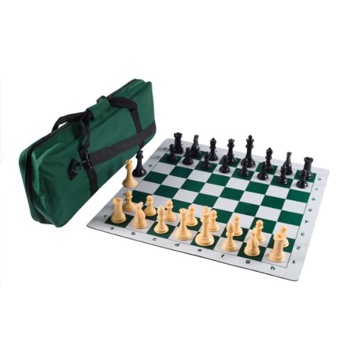 - Premier Tournament Chess Set Combo with Natural Pieces - Forest Green