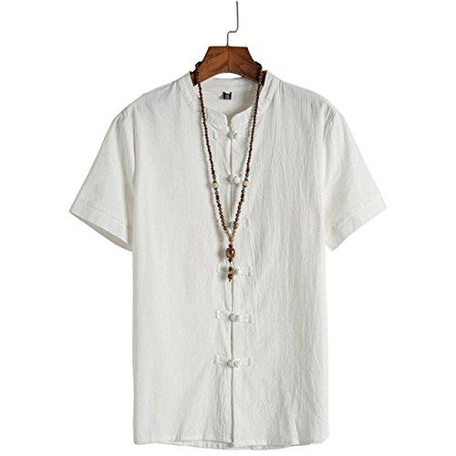 Amazon.com: Easytoy Mens Short Sleeve Henley Neck Chinese Style Button Madarian Tang Shirt: Health & Personal Care