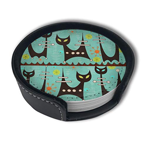 Space Age Atomic Cats Luxury Coasters Protect Furniture from Water Marks Scratch and Damage,Suitable for All Kinds of Cups,Set of 6