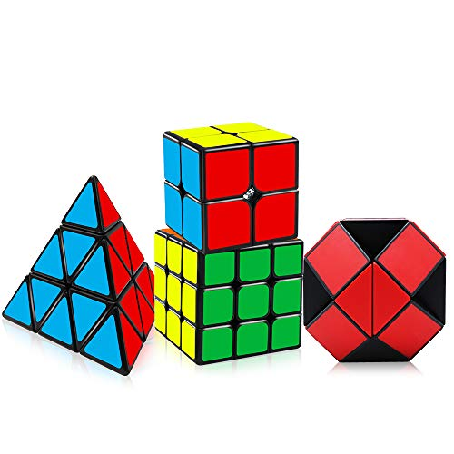 Tresbro Speed Cube Bundle [4 Pack] Qiyi 3x3, 2x2, Pyramid, Snake Cube, Stickers Magic Twist Puzzle Cube Game for Kids Adults, Brain Teasers Toys Sets & Christmas Birthday Gifts