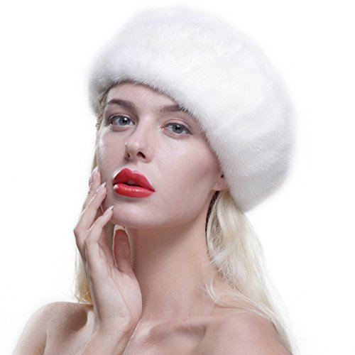 URSFUR Genuine Mink Beret Ladies Winter Fur Hat Cap White