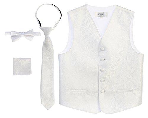 - Gioberti Boy's 4 Piece Formal Paisley Vest Set, White, Size 14