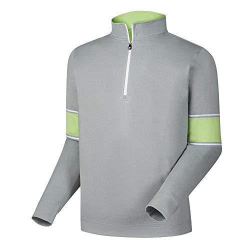 FootJoy Ribbed Jacquard Half-Zip Vest (Heather Grey/Honeydew/White, (Footjoy Performance Rain Shirt)