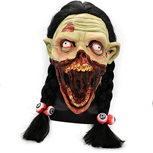 Tricky Toy Horror Braid Grimace Girl Mask Cosplay Helmet Costume Props Halloween Tricky Party Supplies (A)]()
