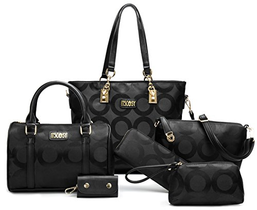 Womens 6 Pcs Lightweight Tote Work Bag Handbag and Purse Set (Black-1)
