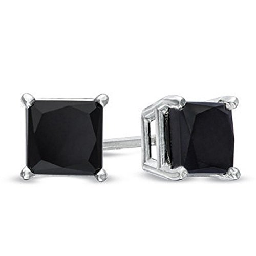 3ct Princess Cut Black Diamond Solitaire Studs,Wedding Gift,Grooms Gift by Gems River
