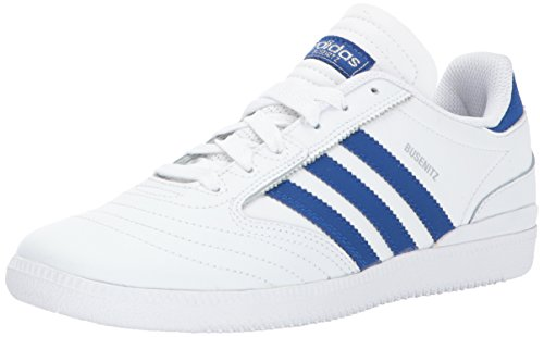 adidas Originals Boys' Busenitz J Sneaker, White/Collegiate Royal/Metallic Silver, 5 Medium US Big Kid