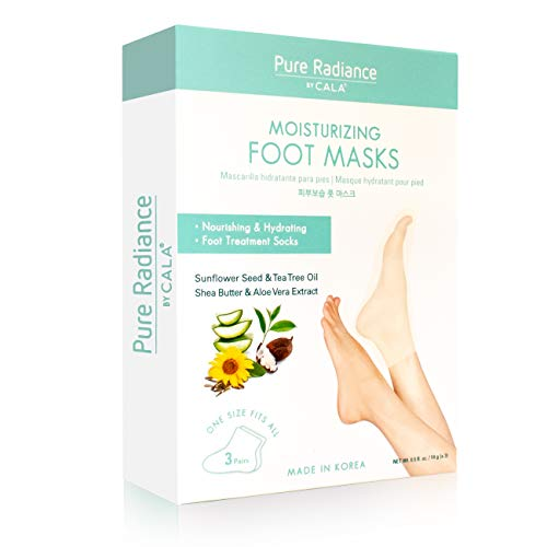 Pure Radiance by Cala Moisturizing Pedicure Foot Masks [Pack of 3 Foot Moisturizing Socks] Contains Natural Ingredients  (Shea Butter & Aloe Vera Extract)