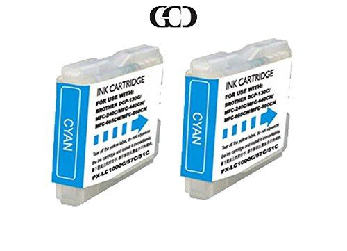 2X CYAN Ink Cartridges for BROTHER LC51C, DCP-130C/330C/350C, MFC-230C/240C - Brother Lc51c Printer Cartridge