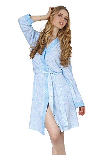- Cozy and Curious Women's Printed Jersey Knit Nightgown & Robe (Set of 2) (Large, Soft Blue)