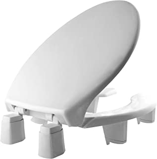 "product image for BEMIS 3L2150T 000 Medic-Aid 3"" Lift Raised Open Front Plastic Toilet Seat with Cover, ELONGATED, Long Lasting Solid Plastic, White"