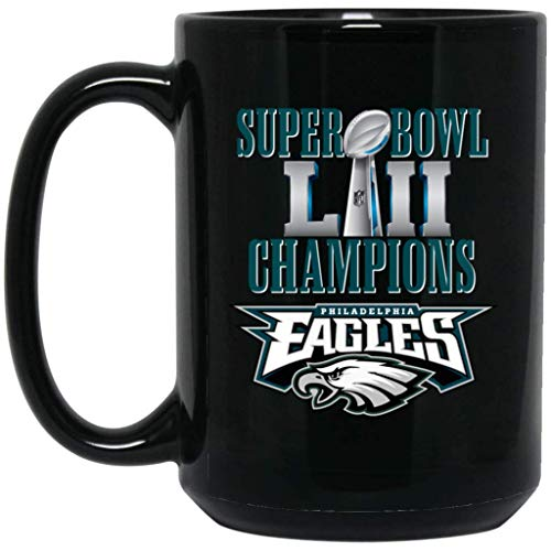 Philadelphia Eagles Coffee Mug | Eagles Mug | Super Bowl 52 Champions Philadelphia Eagles | 15 oz Black Ceramic Mug Cup | NFL NFC National Football League | Perfect Unique Gift For Any Eagles Fan!