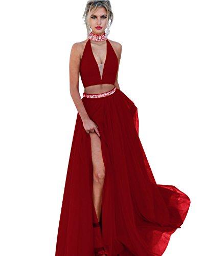 High Stück 2 Lovelybride Prom Burgund Kristall Neck Kleider Perlen Frauen Schlitz Seite Sexy qECwEHF