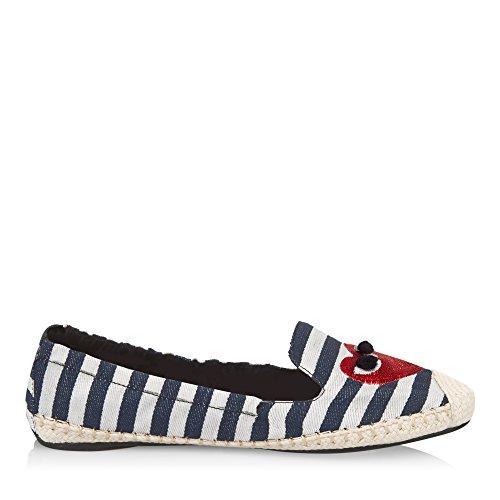 Cocorose Chaussures Pliable - Dames Carnaby Espadrilles Rayures Et Coeur Nautique