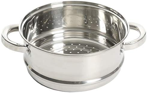 41%2BDqwau VL. AC Oster Sangerfield Stainless Steel Cookware, 3.0-Quart Casserole Set w/Steamer Basket    3 qtr. Stainless Steel steamer for use on your stove top. Perfect for steaming vegetables and cooking rice at the same time as well as re-steaming tamales as leftovers. Smaller size than traditional stockpot steamers for smaller gatherings and space-saving. Dual purpose as Dutch oven with glass lid. 3QT Casserole 8.5' in diameter x 3.7' Height = Piece by itself, 3QT Steamer 8.5' in diameter x 3.6' Height = Piece by itself, With Glass lid 8.5' in diameter (you can use for both the pot and the steamer), Stackable measurements = 8.5' in diameter x 6.20' Height = Stackable Casserole and Steamer.