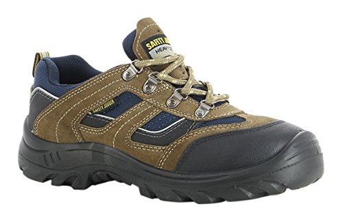 SAFETY JOGGER X2020P Men Hiking Style Safety Toe Lightweight EH PR Water Resistant Shoe, M 7.5, Brown/Navy