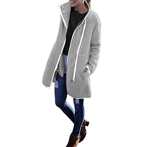 08 Wall Mount - Women Casual Warm Long Sleeve Solid Velvet Zipper Thicker Coat Outwear Jacket Overcoat Tops (S-XL)