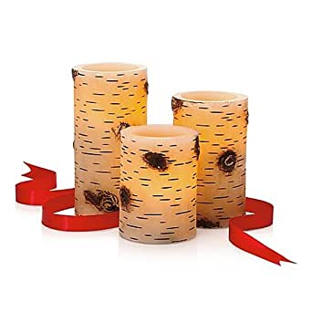 Amazon Com 3 Piece Flameless Led Birch Tree Bark Pillar