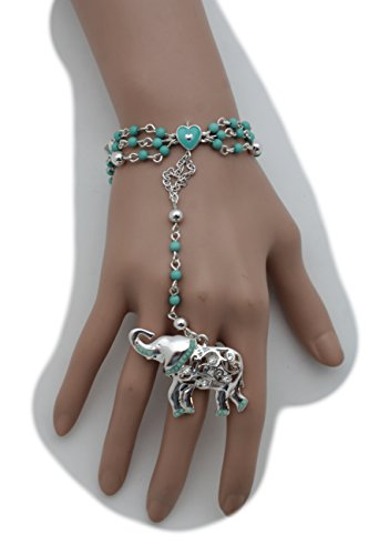 TFJ Women Fashion Jewelry Hand Chain Bracelet Slave Rings Metal Long Fingers Bones Skeleton Skull Black