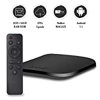 [2018 Newest Model] Android TV Box with 2GB Ram 16GB ROM Smart TV Box Android 7.1 with Amlogic S905W Quad Core Support MAG25X Stalker/OTA Service/4K/3D/WIFI 2.4G/H.265