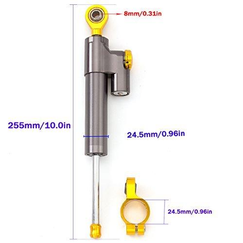 Adjustable Motorcycle Steering Damper Stabilizer /& Mount For Kawasaki ZX10R 2004 2005 Aluminum Gray/&Gold