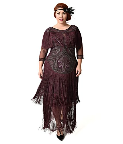 1920s Style Plus Size Plum Beaded Sleeved Glam Flapper Dress by Unique Vintage