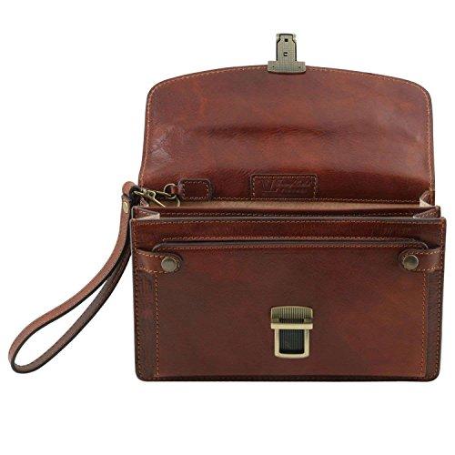 Tuscany Leather - Arthur - Elégante pochette en cuir pour homme - Marron