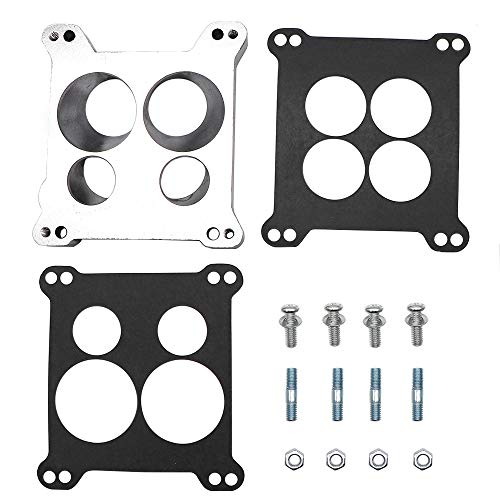 KIPA Carburetor Adapter Manifold 2696 Four-Hole Square-Bore to Spread-Bore Replace for Edelbrock Quadrajet Thermo-Quad Manifolds, 0.850 in. Thickness