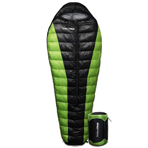 Outdoor Vitals Atlas 15-30 Degree Lightweight Down Sleeping Bag with Compression Sack (Green (Center Zip), Regular (0°F))