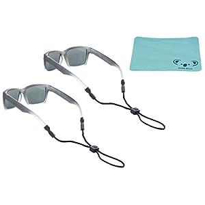 Chums Kids Rope Child Eyewear Retainer Children's Glasses Strap | Adjustable Eyeglass and Sunglass Holder for Boys and Girls | 2pk Bundle + Cloth, Black