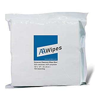 AAWipes Cleanroom Wipes Nonwoven Wipers Cellulose/Polyester Blend 12″ x 12″ (Bag of 150 Pcs) for Lab, Electronics, Pharmaceutical, Printing and Semiconductor Industries (Professional Grade) (White)
