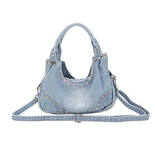 Genda 2Archer Women Casual Tote Denim Shoulder Bag Handbag Satchel Hobo Bag Blue