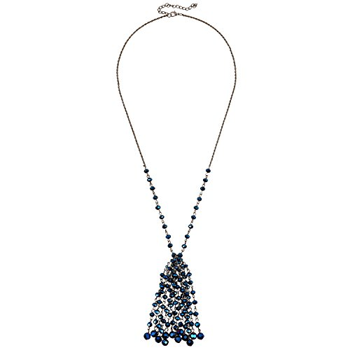 D EXCEED Charm Tassel Glass Facet Bead Necklace Long Handcrafted Fringe Crystal Pendant Jewelry 28