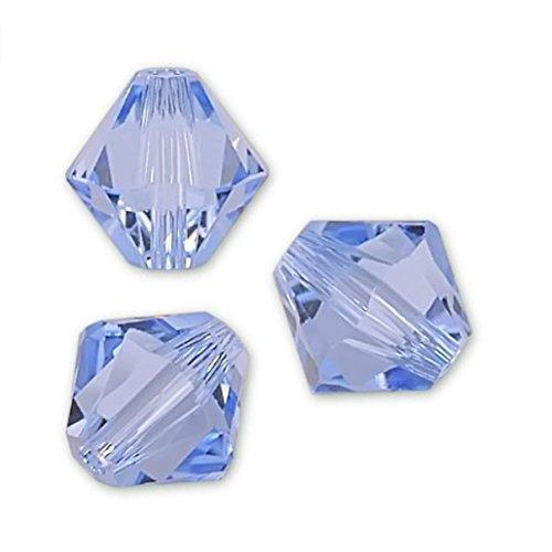 100pcs Genuine Preciosa Bicone Crystal Beads 4mm Light Sapphire Blue Alternatives For Swarovski #5301/5328 #preb414 ()