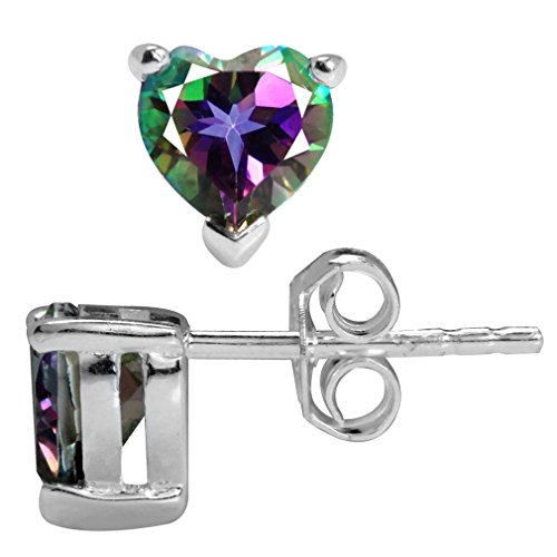 1.76ct. Heart Shape Mystic Fire Topaz 925 Sterling Silver Stud ()