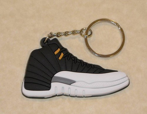 1 X Air Jordan Retro 12 Keychain (Black/White/Metallic)