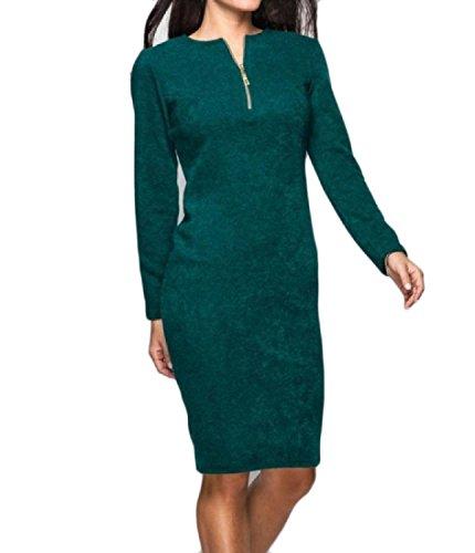 Cut Length Comfy Out Color Green Pure Mid Velvet Sleeve Womens Slim Dress Long vRwnqrv0Y