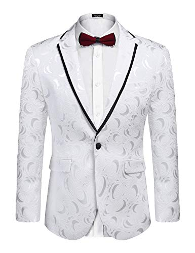 COOFANDY Men's Rose Floral Suit Jacket Blazer Weddings Prom Party Dinner Tuxedo -