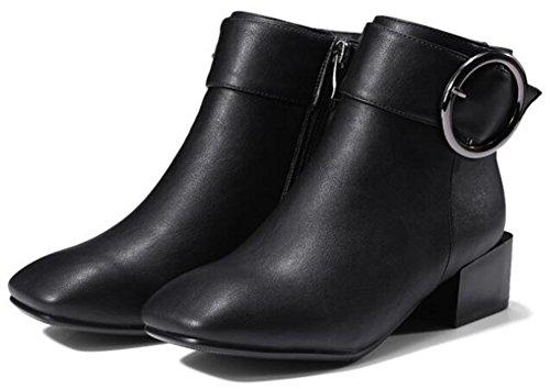 Idifu Womens Unique Square Toe Mid Chunky Tacchi Zip Laterale Biker Bassi Ankle Boots Neri