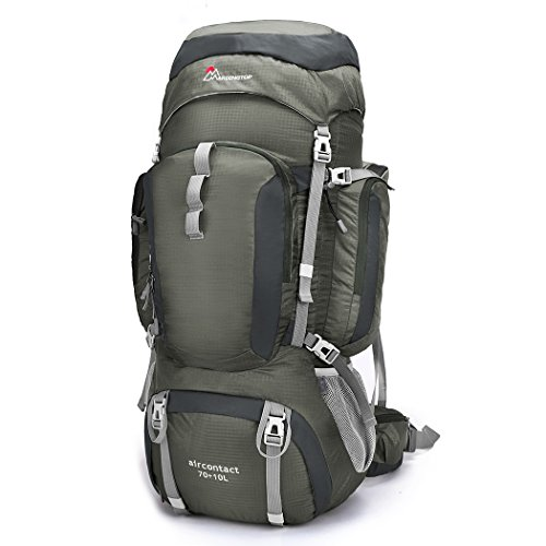 Mountaintop 70L+10L Hiking Backpack Internal Frame Backpack Backpacking Trekking Bag with Rain Cover-6804 (Gray)