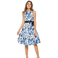 GENSHUO Summer Vintage Prom Casual Dress for Women with Ribbon