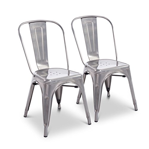 "HomCom 34"" Stackable Industrial Metal Dining Chairs Set of 2 (Silver)"