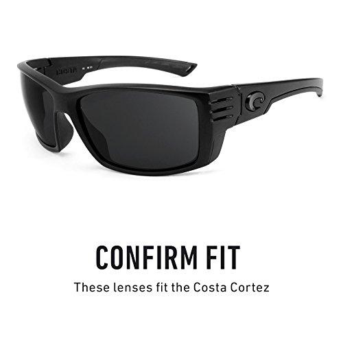 Verres de rechange pour Costa Cortez — Plusieurs options Noir Chrome MirrorShield® - Polarisés
