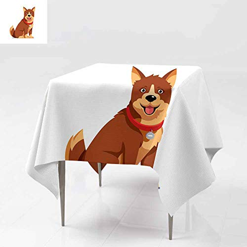 AFGG Waterproof Table Cover,Domestic pet Wearing red Collar with tag Brown Sitting,Great for Buffet Table, Parties& More 54x54 Inch Dog F LAT Style Vector -