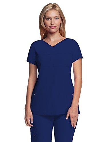 Button Welt Pockets (Grey's Anatomy Signature Women's Two Pocket Soft V-Neck Scrub Top, Indigo, Medium)