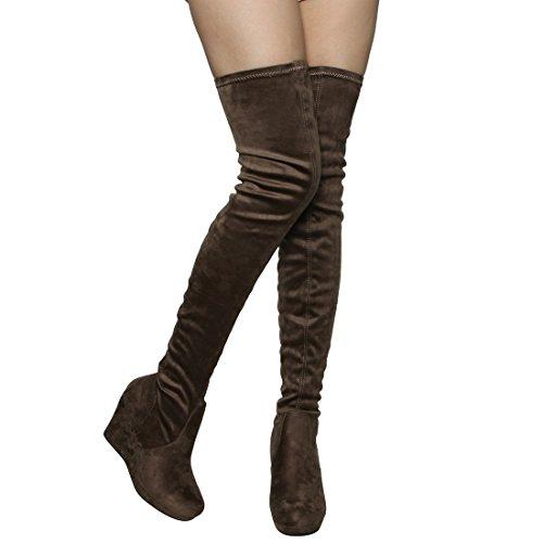 Beston Ej07 Womens Stretchy Nauw Aansluitende Dij Hoge Platform Sleehak Laarzen Taupe